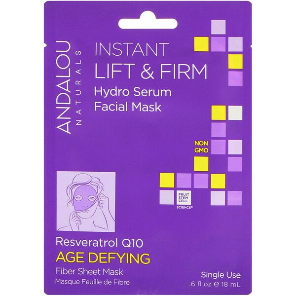 Andalou Naturals, Instant Lift & Firm, Hydro Serum Beauty Facial Mask, Age Defying, 1 Single Use Fiber Sheet Mask, .6 fl oz (18 ml)