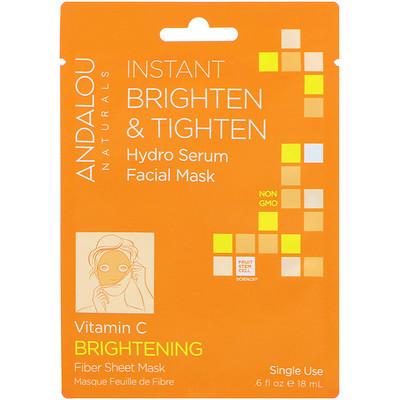 Купить Andalou Naturals Мгновенное осветление и утягивание, увлажняющая маска-сыворотка для лица, осветляющая, 1 одноразовая тканевая маска, 0, 6 жидких унций (18 мл)