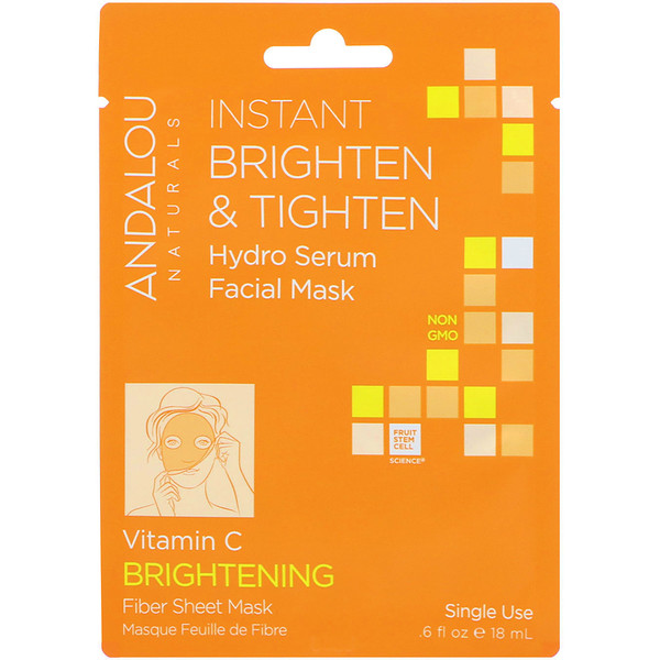 Andalou Naturals, Instant Brighten & Tighten, Hydro Serum Beauty Facial Mask, Brightening, 1 Single Use Fiber Sheet Mask, .6 fl oz (18 ml)
