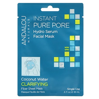 Andalou Naturals, Instant Pure Pore, Hydro Serum Facial Mask, 1 Single Use Fiber Sheet Mask, .6 fl oz (18 ml )