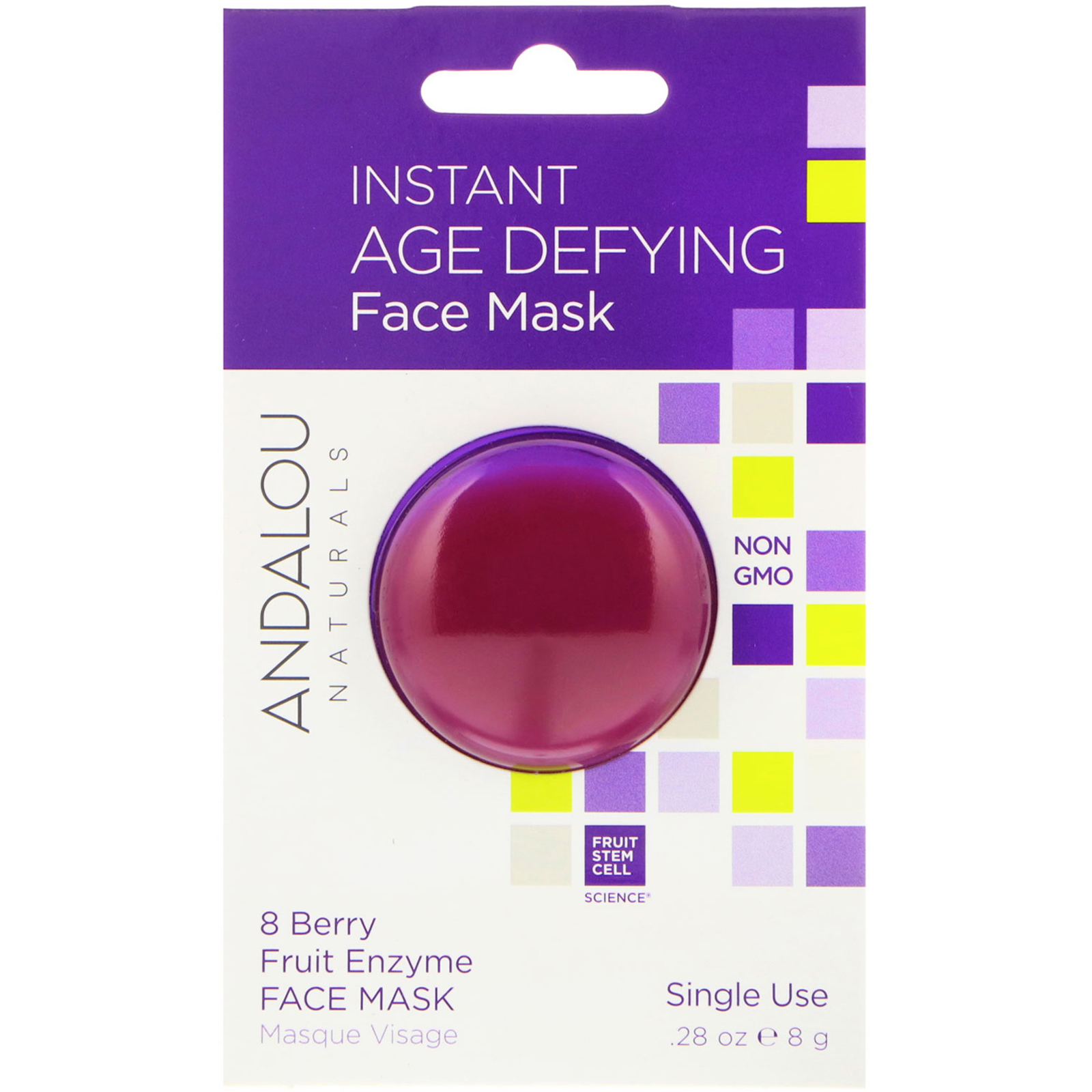 Age-Defying Enzyme Face Mask Bioactive 8 Berry - 1.7 oz. by Andalou Naturals (pack of 1) Living Source Hyaluronic Acid Hydrating Eye Cream 0.5 oz