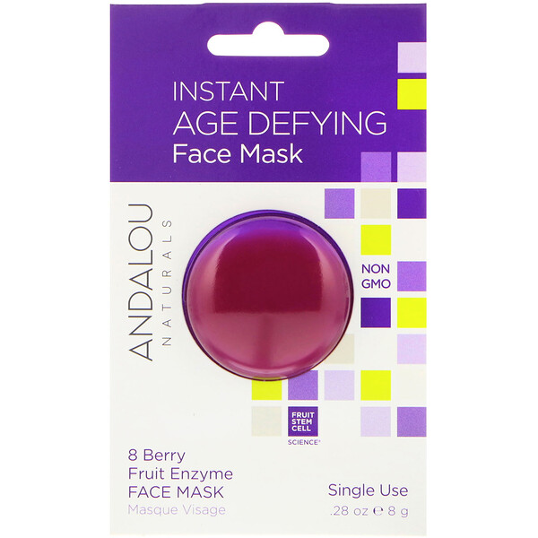 Andalou Naturals, Instant Age Defying, 8 Berry Fruit Enzyme Beauty Face Mask, .28 oz (8 g)