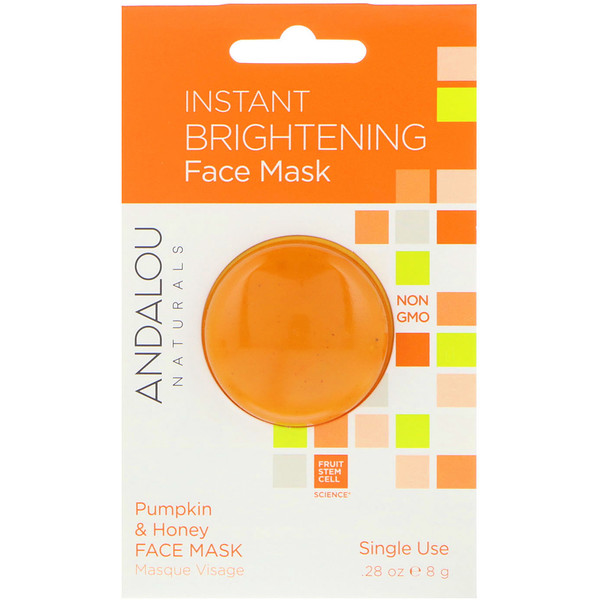 Andalou Naturals, Instant Brightening Beauty Face Mask, Pumpkin and Honey, .28 oz (8 g)