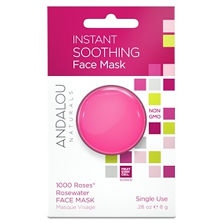 Andalou Naturals, Instant Soothing, 1000 Roses Rosewater Face Mask, .28 oz (8 g)