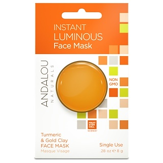 Andalou Naturals, Instant Luminous, Turmeric & Gold Clay Face Mask, .28 oz (8 g)