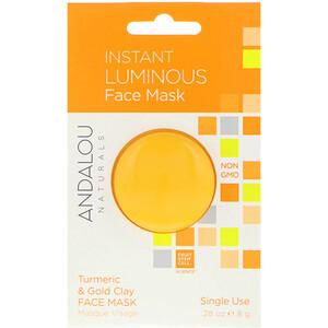 Андалу Натуралс, Instant Luminous, Turmeric & Gold Clay Face Mask, .28 oz (8 g) отзывы покупателей
