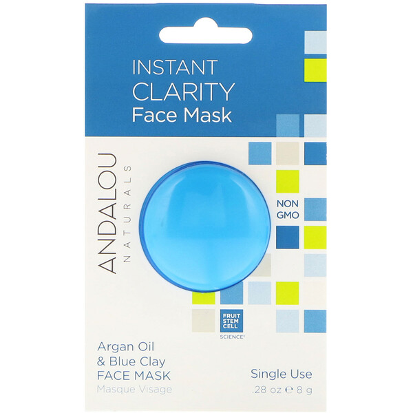 Andalou Naturals, Instant Clarity, Argan Oil & Blue Clay Face Mask, .28 oz (8 g)