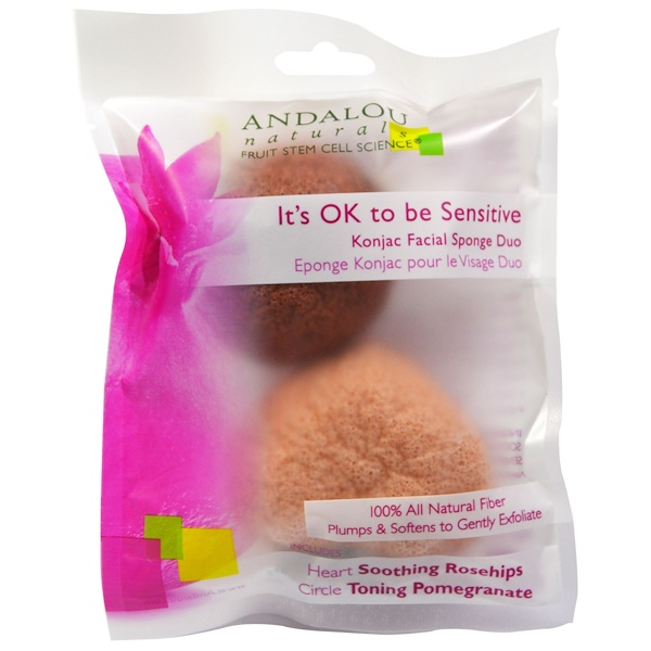 Andalou Naturals, It's OK to be Sensitive, Konjac Facial Sponge Duo, 2 Pack