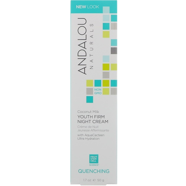 Andalou Naturals, Coconut Milk Youth Firm Night Cream, Quenching, 1.7 fl oz (50 g)