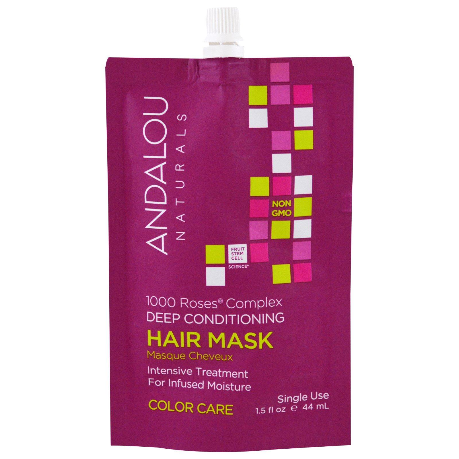 Andalou Naturals, 1000 Roses Complex, Глубокое Кондиционирование Крашеных Волос, Маска дла Волос, 1,5 жидких унций (44 мл)