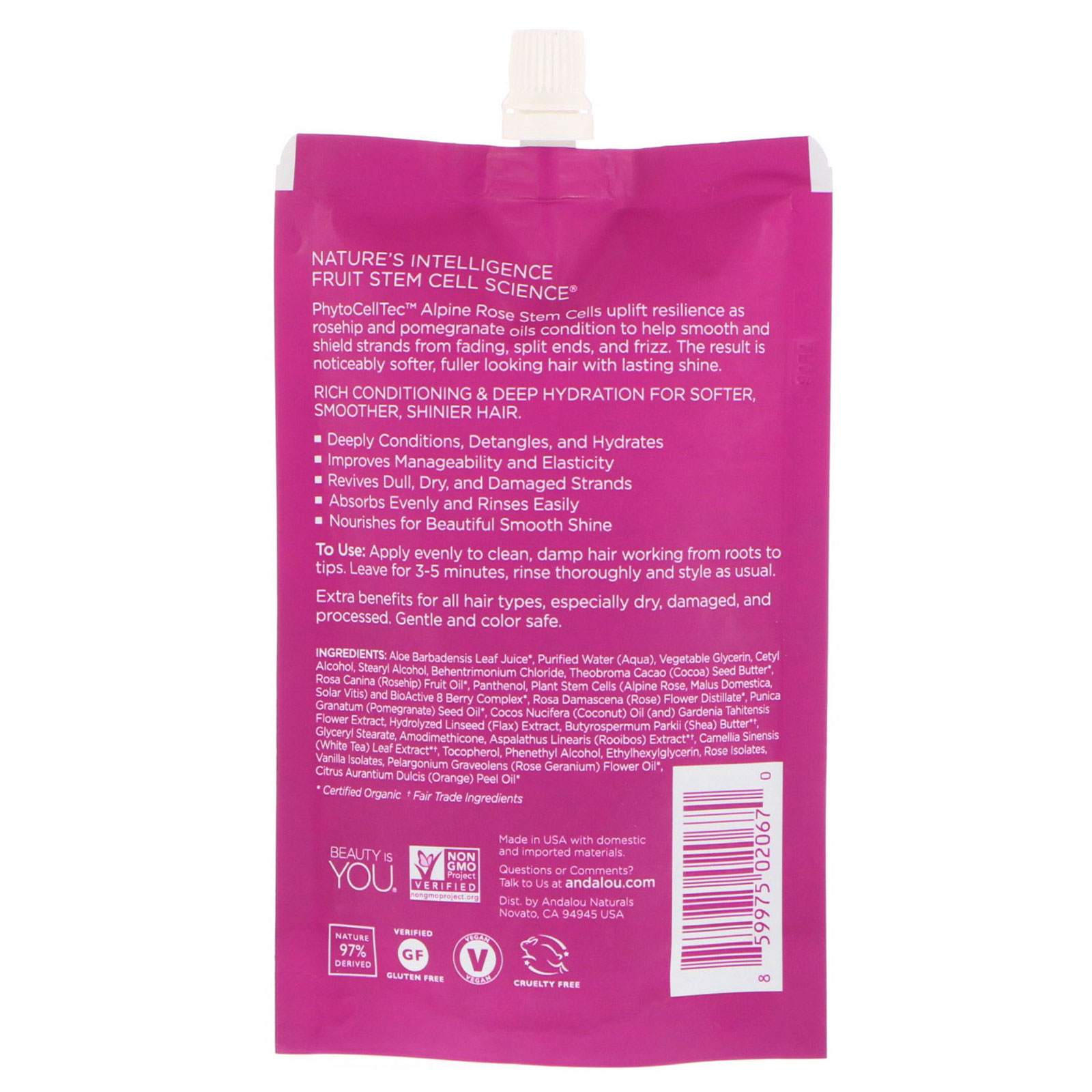 Andalou Naturals, 1000 Roses Complex Deep Conditioning, Color Care, Hair  Mask, 1 5 fl oz (44 ml)
