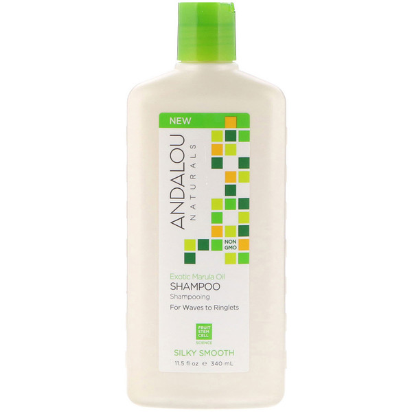 Andalou Naturals, Shampoo, Silky Smooth, For Waves to Ringlets, Exotic Marula Oil, 11.5 fl oz (340 ml) (Discontinued Item)