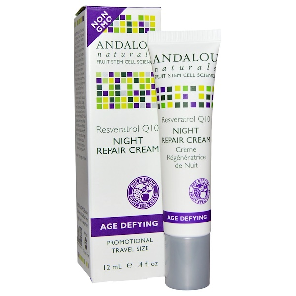Andalou Naturals, Night Repair Cream, Resveratrol Q10, .4 fl oz (12 ml) (Discontinued Item)