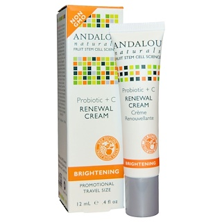 Andalou Naturals, Renewal Cream, Probiotic + C, Brightening, 0.4 fl oz (12 ml)