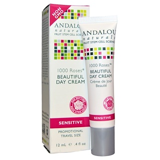 Andalou Naturals, Beautiful Day Cream, 1000 Roses, Sensitive, 0.4 fl oz (12 ml)