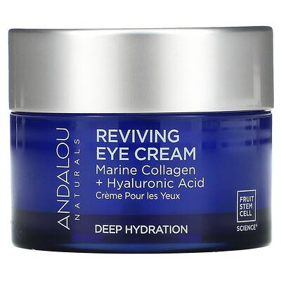 Andalou Naturals Reviving Eye Cream, Bio-Designed Collagen + Hyaluronic Acid, 0.45 fl oz (13 ml)