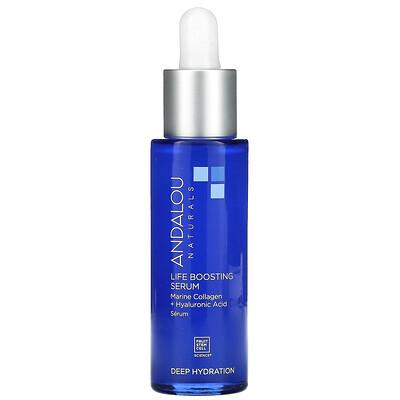 Andalou Naturals Life Boosting Serum, Bio-Designed Collagen + Hyaluronic Acid, 1 fl oz (30 ml)
