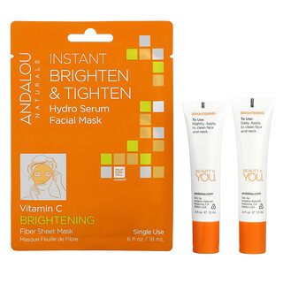 Andalou Naturals, Brightening Day to Night, 3 Piece Kit