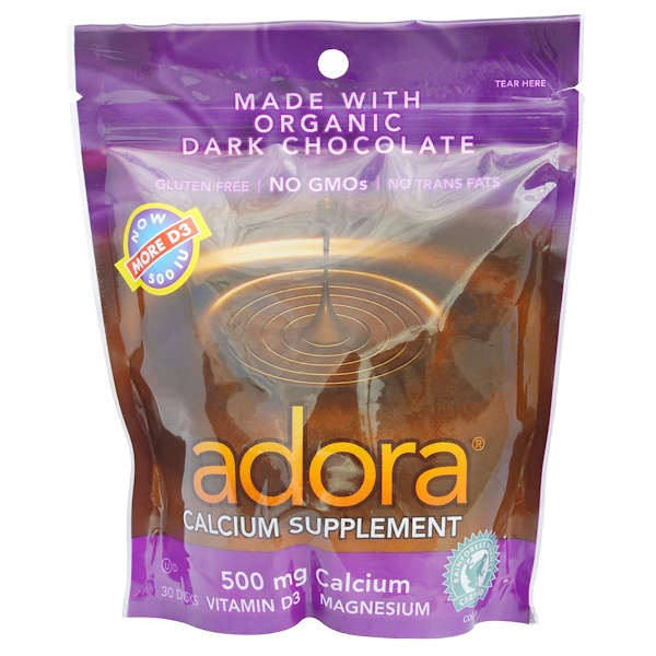 Adora, Calcium Supplement, Organic Dark Chocolate, 30 Disks