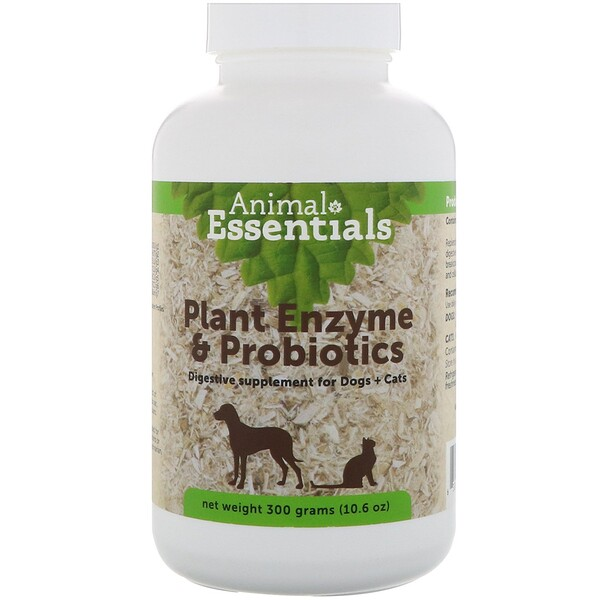 Animal Essentials, Enzimas Vegetais e Probióticos, para Cães e Gatos 10.6 oz (300 g)