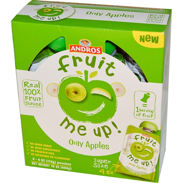 Andros Fruit Me Up!, Only Apples, 4 Pouches, 4 oz (113 g) (Discontinued Item)