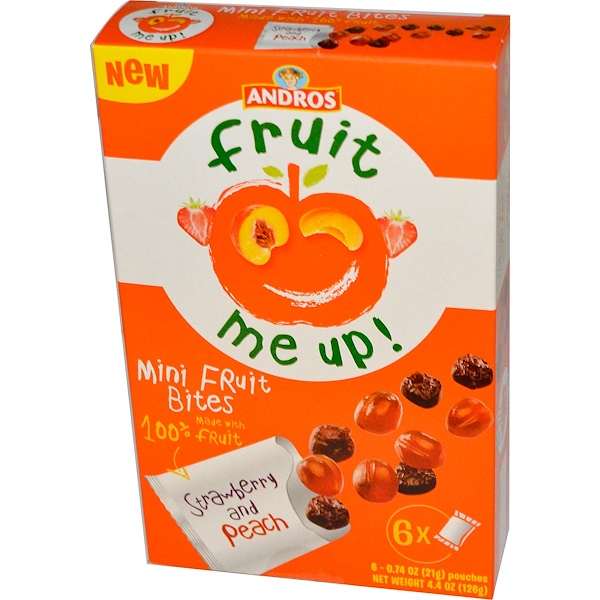 Andros Fruit Me Up!, Mini Fruit Bites, Strawberry & Peach, 6 Pouches, 0.74 oz (21 g) (Discontinued Item)