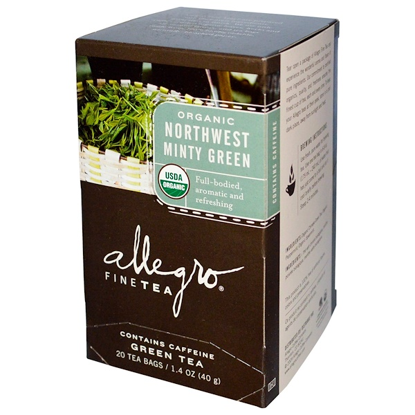 Allegro Fine Tea, Organic, Northwest Minty Green Tea, 20 Tea Bags, 1.4 oz (40 g) (Discontinued Item)
