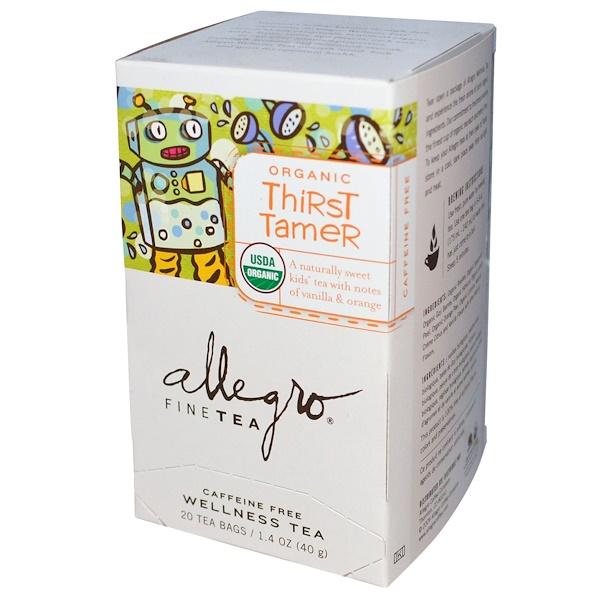 Allegro Fine Tea, Organic Thirst Tamer Tea, Caffeine Free, 20 Tea Bags, 1.4 oz (40 g) (Discontinued Item)