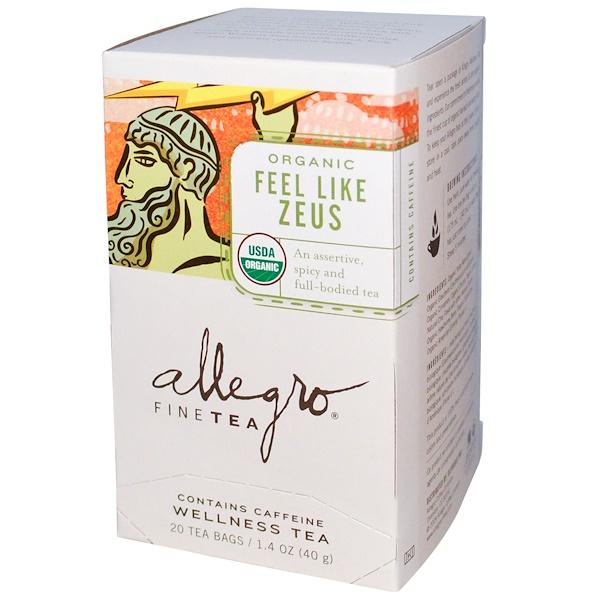 Allegro Fine Tea, Organic Wellness Tea, Feel Like Zeus, 20 Tea Bags, 1.4 oz (40 g) (Discontinued Item)