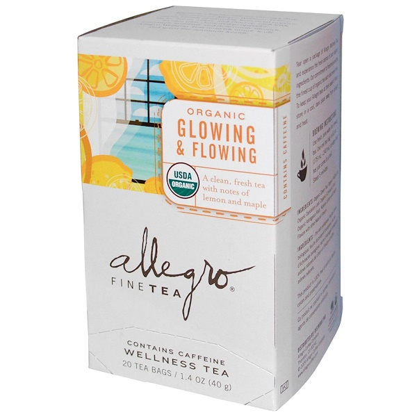 Allegro Fine Tea, Organic Glowing & Flowing, 20 Tea Bags, 1.4 oz (40 g) (Discontinued Item)