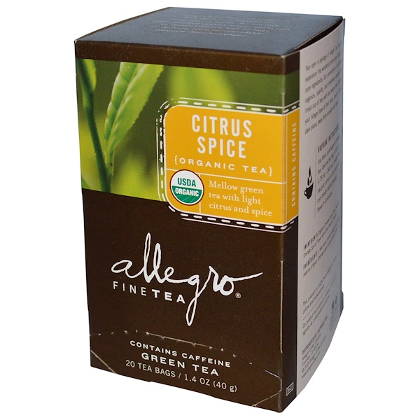 Allegro Fine Tea, Organic Citrus Spice, Green Tea, 20 Tea Bags, 1.4 oz (40 g) (Discontinued Item)