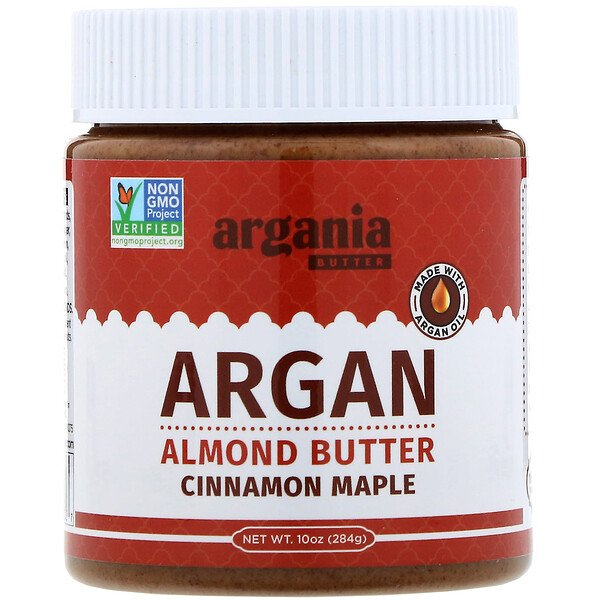 Argania Butter, Миндальная паста с аргановым маслом, корица и кленовый сироп, 284 г (Discontinued Item)