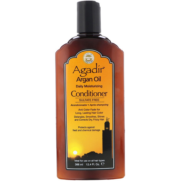 品牌從A - ZAgadir類別沐浴露及個人護理護髮護髮乳:Agadir, Argan Oil, Daily Moisturizing Conditioner, Sulfate Free, 12、4 fl oz (366 ml)