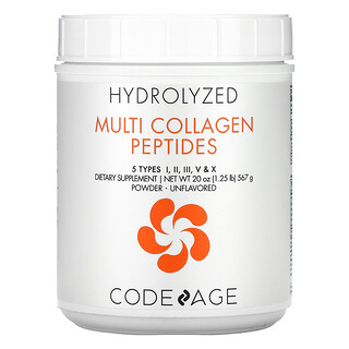 CodeAge, Hydrolyzed, Multi Collagen Peptides, Unflavored, 20 oz (567 g)