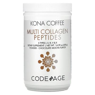 Купить CodeAge Kona Coffee, Multi Collagen Peptides, Chocolate Mocha Flavor, 14.39 oz (408 g)