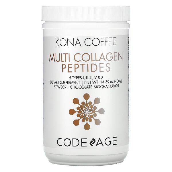 CodeAge, Kona Coffee, Multi Collagen Peptides, Chocolate Mocha, 14.39 oz (408 g)