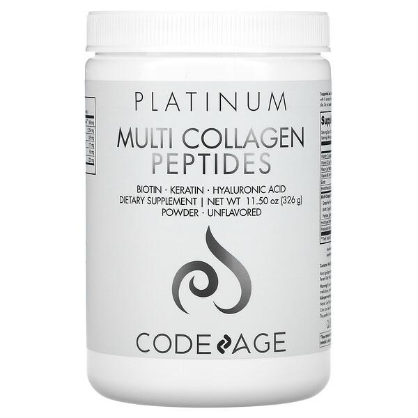 Platinum, Multi Collagen Peptides Powder, Unflavored, 11.50 oz (326 g)
