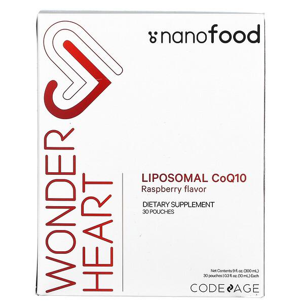 Wonder Heart, Liposomal CoQ10, Raspberry Flavor, 30 Pouches, 0.3 fl oz (10 ml) Each