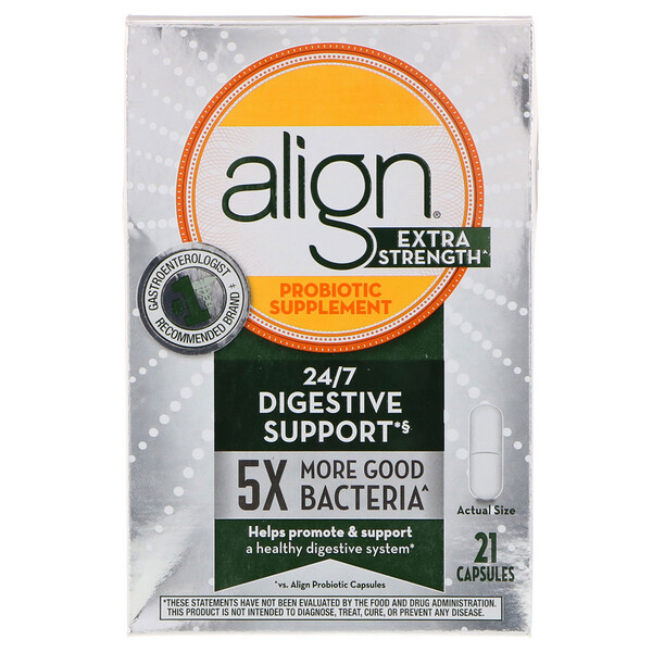 Align Probiotics, 24/7 Digestive Support, Probiotic Supplement, Extra Strength, 21 Capsules (Discontinued Item)