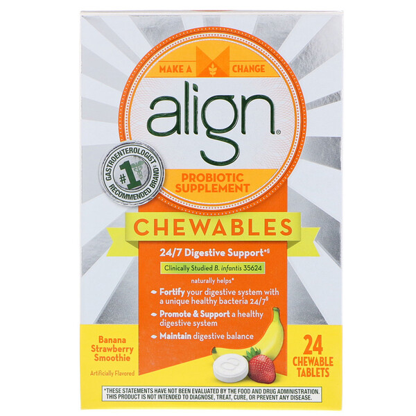 Align Probiotics, 24/7 Digestive Support, Probiotic Supplement, Chewables, Banana Strawberry Smoothie, 24 Chewable Tablets (Discontinued Item)