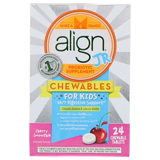 Align Probiotics, 24/7 Digestive Support, Jr. Probiotic Supplement, Chewables for Kids, Cherry Smoothie, 24 Chewable Tablets