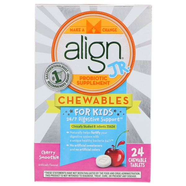 Align Probiotics, 24/7 Digestive Support, Jr. Probiotic Supplement, Chewables for Kids, Cherry Smoothie, 24 Chewable Tablets (Discontinued Item)
