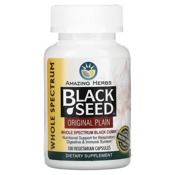 Amazing Herbs, Black Seed, Original Plain, 100 Vegetarian Capsules