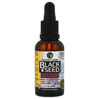 Amazing Herbs, Black Seed, 100% Pure Cold-Pressed Black Cumin Seed Oil, 1 fl oz (30 ml)