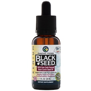 Amazing Herbs, الحبة السوداء، 100% زيت بذور الكمون السوداء النقية المعصورة على البارد، 1 أوقية سائلة (30 مل)