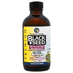 Amazing Herbs, بذور سوداء، 100% زيت بذور الكمون الأسود نقي مستخرج عن طريق الضغط بالتبريد 4 أونصة سائلة (120 مل)