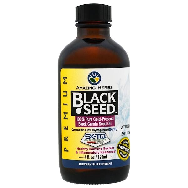 Amazing Herbs, 黑籽,100%純冷榨黑色小茴香籽油,4 fl oz (120 ml)