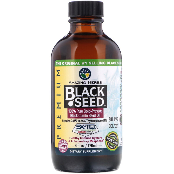 Black Seed, 100% Pure Cold-Pressed Black Cumin Seed Oil, 4 fl oz (120 ml)