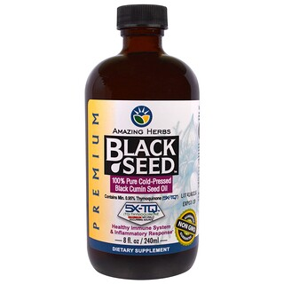 Amazing Herbs, ブラックシード, 100%ピュア常温圧搾ブラッククミン種子油, 8液量オンス(240 ml)