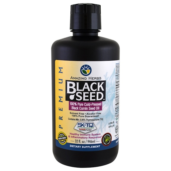Amazing Herbs, Black Seed, 100% Pure Cold-Pressed Black Cumin Seed Oil, 32 fl oz (946 ml) (Discontinued Item)